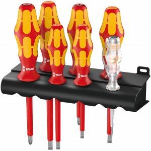 Набор изолированных отверток Kraftform Plus Серия 100 + индикатор напряжения + подставка (SL, PZ) 160 i/165 i/7 Rack WERA 05006148001