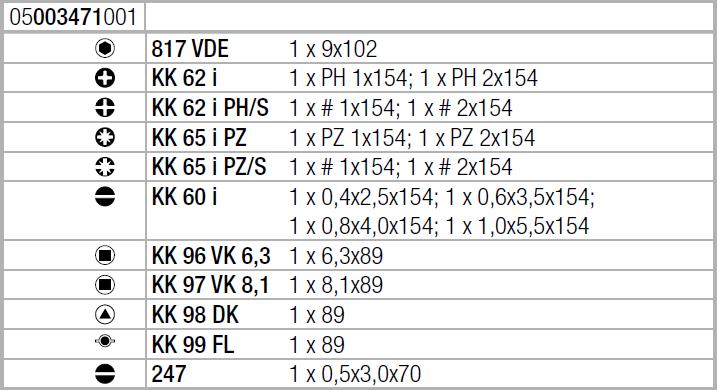 Набор Kraftform Kompakt VDE 18 Universal 1 WERA 05003471001