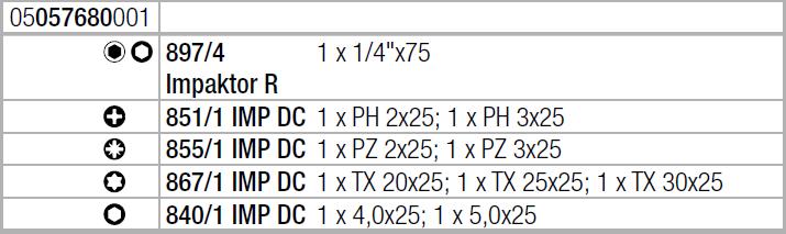 Набор ударных бит с ударным битодержателем Bit-Check 10 Impaktor 1 WERA 05057680001