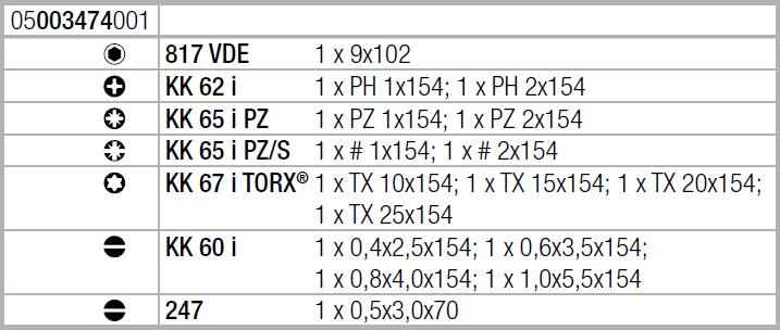 Набор Kraftform Kompakt VDE 16 Universal 1 Wera 05003474001