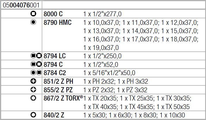 "Zyklop Speed 8100 SC 6 - набор с трещоткой, привод 1/2"", метрический Wera 05004076001"