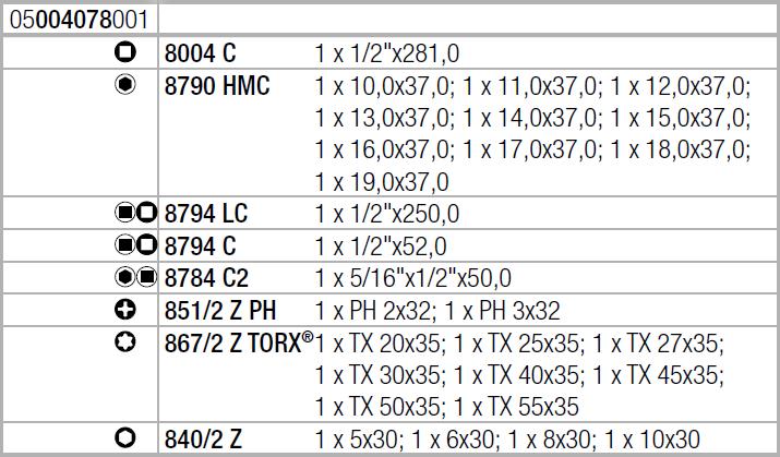 "Zyklop Metal 8100 SC 8 - набор с трещоткой, переключение реверса, привод 1/2"", метрический Wera 05004078001"