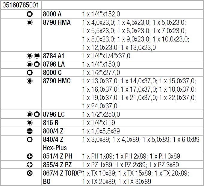 """Набор с трещоткой Zyklop Speed 8100 SA/SC 2 , 1/4"""" и 1/2"""", метрический Wera 05160785001"""