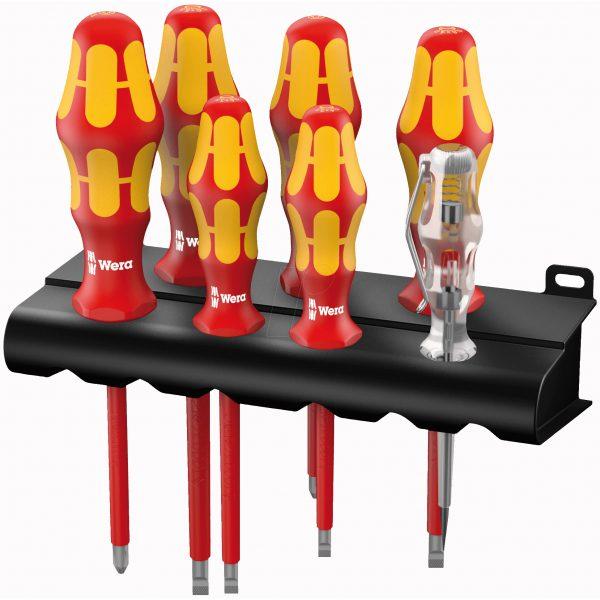 Набор отверток Kraftform Plus Серия 100 + индикатор напряжения + подставка (SL, PH) 160 i/7 Rack WERA 05006147001