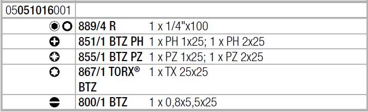 Отвертка с набором бит Kraftform Kompakt 20 Tool Finder 1 с сумкой (SL, PH, PZ, TX) Wera 05051016001