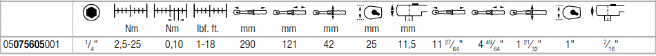 Динамометрический ключ с трещоткой, под биту, с реверсом Click-Torque A 6 (2,5-25 Нм) WERA 05075605001