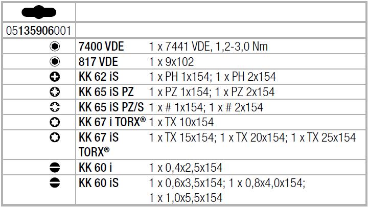 Набор Kraftform Kompakt VDE 16 Torque 1,2-3,0 Nm extra slim 1 с динамометрической отвёрткой и ручкой-держателем WERA 05135906001