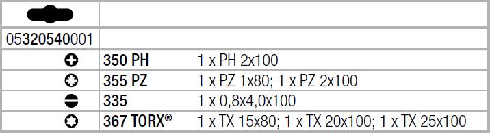 Набор отверток Kraftform Plus (SL, PH, PZ, TORX) WERA 05320540001