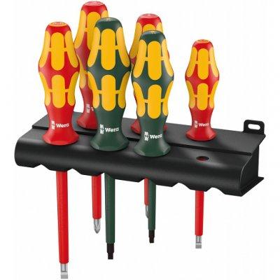 Набор изолированных отвёрток Kraftform Plus Серия 100 + подставка (SL, PH, квадрат) 160 i/168 i/6 Rack WERA 05347777001