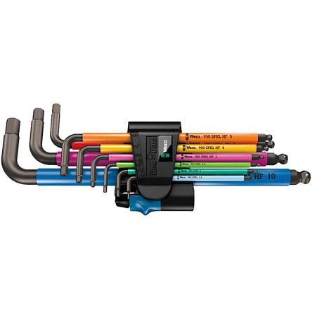 Набор Г-образных ключей, метрических, BlackLaser, с фиксирующей функцией 950/9 Hex-Plus Multicolour HF 1 WERA 05022210001