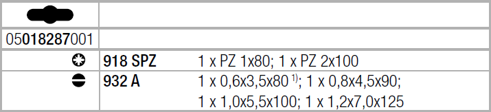 Набор ударных отверток ( SL, PZ ) WERA 05018287001