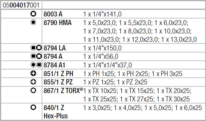 """Zyklop Metal 8100 SA 7 - набор с трещоткой, сдвижной квадрат, привод 1/4"""", метрический WERA 05004017001"""