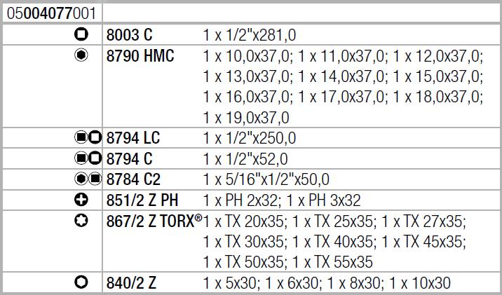 "Zyklop Metal 8100 SC 7 - набор с трещоткой, сдвижной квадрат, привод 1/2"", метрический WERA 05004077001"