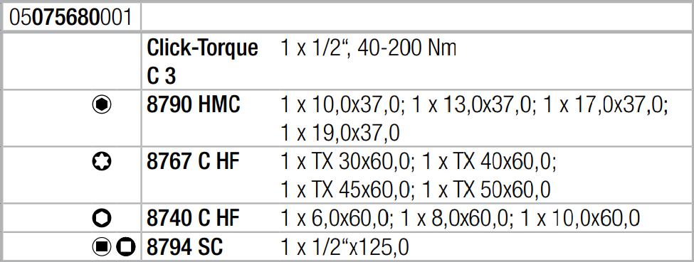 Набор с динамометрическим ключом Click-Torque C 3 Set 1 (40-200 Нм) WERA 05075680001