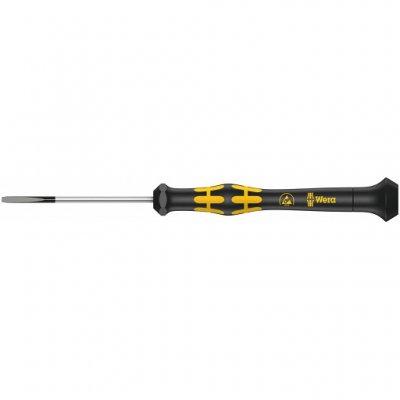 Шлицевая отвертка для электронщиков с электростатической защитой Kraftform Micro ESD SL 1,5х40 мм WERA 05030101001