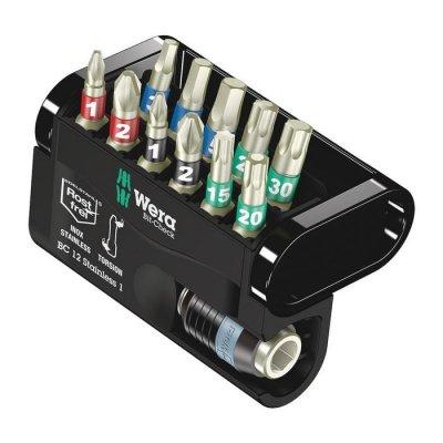 Набор бит с битодержателем из нержавеющей стали Bit-Check 12 Stainless 1 (PH, PZ, TX, HEX) WERA 05057425001