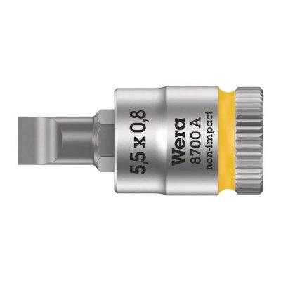 Шлицевая отверточная головка Zyklop 1/4″ SL5,5х28 мм WERA 05003320001